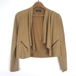 Mirrou Tan Faux Suede Cropped Jacket